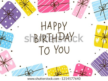 Birthday Greeting Card Color Gift Boxes Stock Vector Royalty Free