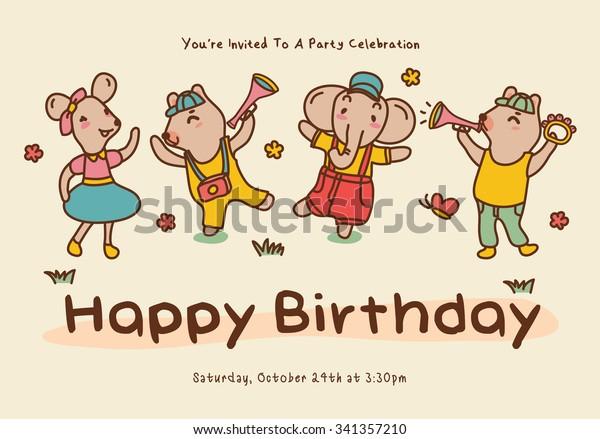 Birthday Greeting Card Cute Cartoon Animals Stock Vector Royalty Free 341357210