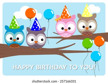birthday greeting card, cute colorful owls to celebrate the birthday with hats and colorful balloons