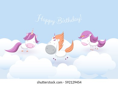 birthday greeting card with cute unicorns on sky background among stars and fluffy clouds; vector, illustration, hand drawn