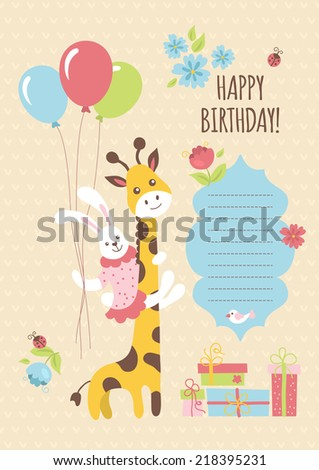 Birthday greeting card design giraffe bunny stock vector royalty birthday greeting card design with giraffe and bunny vector illustration m4hsunfo