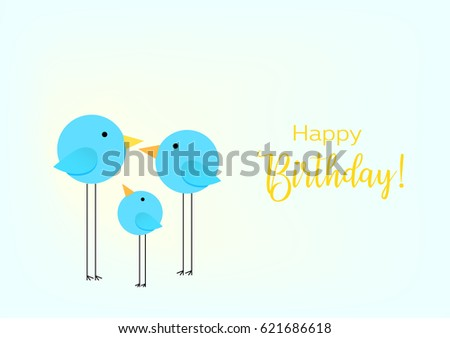 Birthday Greeting Card Drawing With The Family Of Birds For Baby Frame Vector Illustration