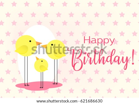 Birthday greeting card drawing family birds stock vector royalty birthday greeting card drawing with the family of birds for baby frame vector illustration m4hsunfo