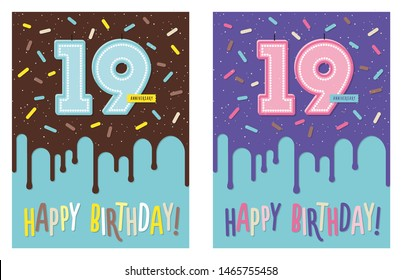 Birthday greeting card with dripping glaze on decorated cake and number 19 celebration candle