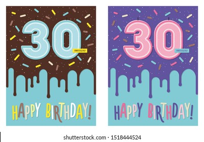 Birthday greeting card with dripping glaze on decorated cake and number 30 celebration candle