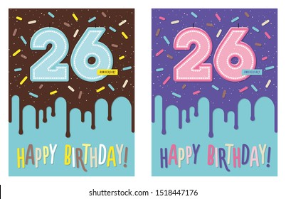Birthday greeting card with dripping glaze on decorated cake and number 26 celebration candle