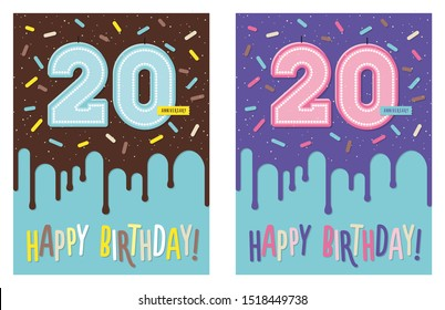 Birthday greeting card with dripping glaze on decorated cake and number 20 celebration candle