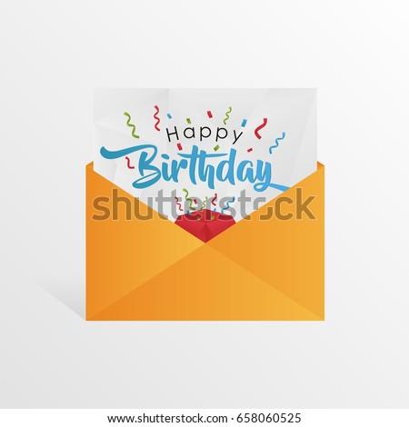 birthday greeting card envelope ribbon happy stock vector royalty