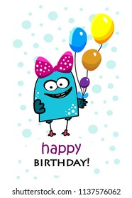 Birthday greeting card with funny cute monster