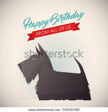 Birthday Greeting Card With Funny Dog Character