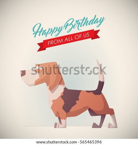 Birthday Greeting Card With Funny Dog Character Vector Illustration