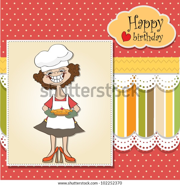 Birthday Greeting Card Funny Woman Pie Stock Vector (Royalty