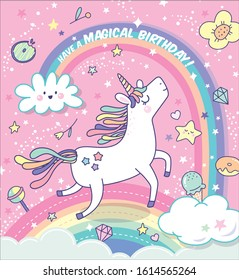 Birthday greeting card with a magical unicorn, rainbow and clouds background.