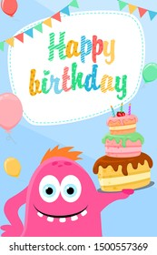 Birthday greeting card with a pink monster