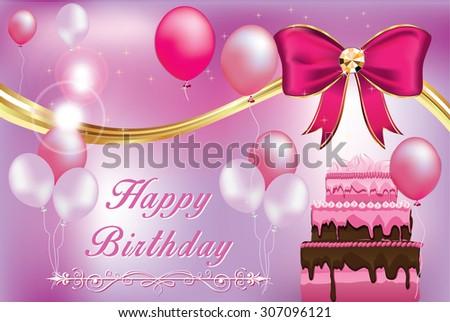Birthday Greeting Card Print Purple Pink Stock Vector Royalty Free