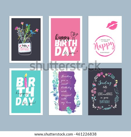 Birthday Greeting Card Templates Hand Drawn Watercolor Vector Illustrations For Website Banners Cards