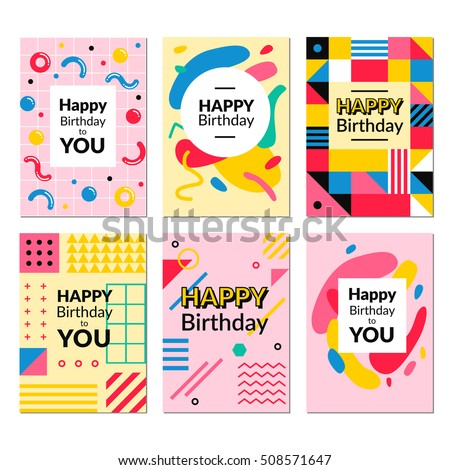 Birthday Greeting Card Templates Vector Illustrations For Website Banners Cards Invitations