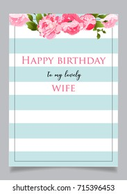 Happy birthday my friend images stock photos vectors shutterstock birthday greeting card with text happy birthday to my lovely wife blue striped background with m4hsunfo