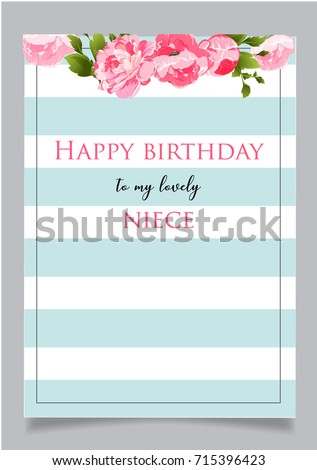 Birthday Greeting Card With Text Happy To My Lovely Niece Blue Striped Background