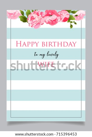 birthday greeting card with text happy birthday to my lovely wife blue striped background with