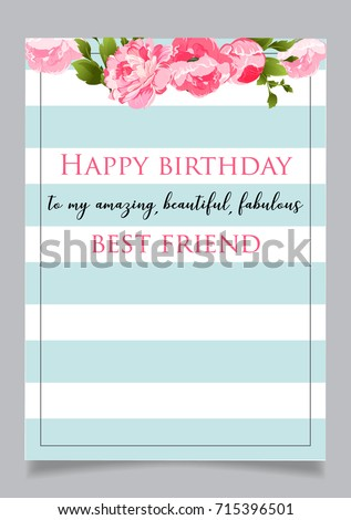 Birthday Greeting Card With Text Happy To My Amazingbeautiful Fabulous Best Friend