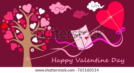 Birthday greeting card valentines day love stock vector royalty birthday greeting card valentines day love tenderness beating tree tree heart kite note message clouds cherry m4hsunfo