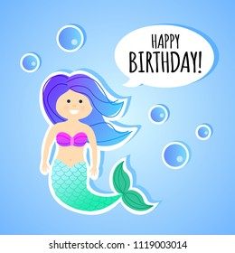 Birthday greeting card with vector cartoon mermaid for children