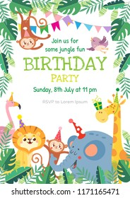 Birthday greeting cards with cute animals. Funny Jungle party. Vector illustration.