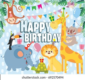 Birthday greeting cards with cute animals. Vector illustration.