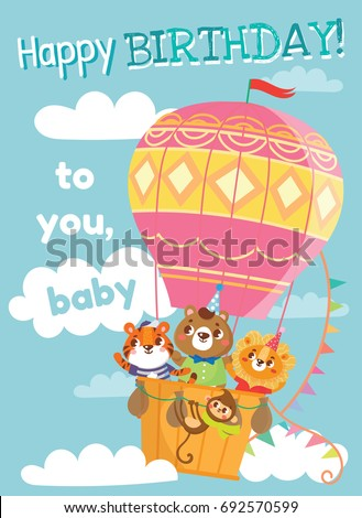 Birthday Greeting Cards With Cute Animals Funny On Hot Air Balloon Vector Illustration