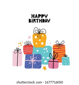 Birthday greeting cards design. Bday presents postcard or banner flat template with happy birthday typography. Pile of gifts and different graphic elements. Hand drawn Scandinavian style
