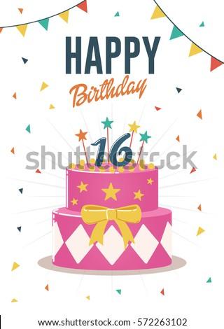 Birthday greeting and invitation card with sweet 16 birthday cake illustration.