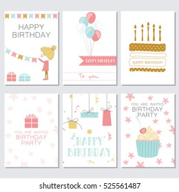 Birthday, greeting and invitation cards with cakes, balloons, gifts and the girl