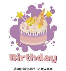 Birthday Greeting Poster with Cartoon Cream Layer Cake Decorated Stars on Stick, Waffle Cone, Macaroon over Purple Bubbles. Holiday Card Childish Design. Vector Flat Invitation Illustration