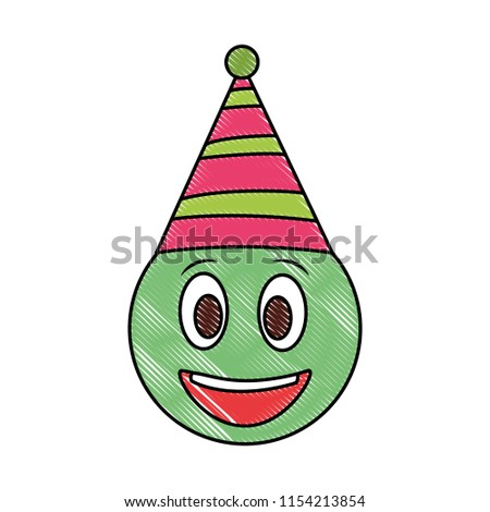 Birthday Happy Face Emoji Party Hat Drawing