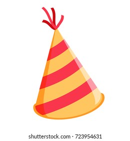 Birthday hat isolated. Glossy Cone-like Hat For Event Celebration. Vector Illustration. Festive stripy cap vector illustration isolated on white background