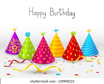 Birthday hats background with place for text