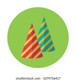Birthday Hats Flat Icon Isolated On Green Round Circle Simple Cone Like Hat Sign