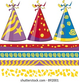 Birthday Hats and Matching borders