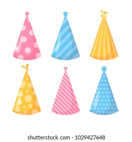 Birthday hats set. Isolated. Vector illustration.