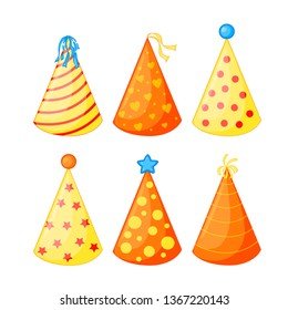 Birthday hats set. Isolated. Vector illustration. - Vector.