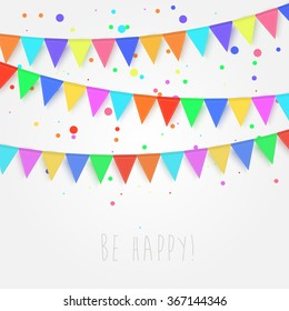 Birthday, holiday, festival decoration outdoor. Flags, garlands