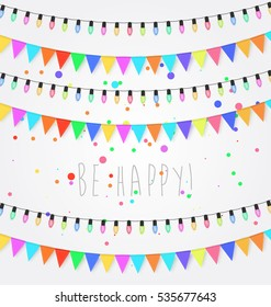 Birthday, holiday, festival decoration outdoor. Christmas and New Year lights design elements. Flags, colored garlands. Flat vector illustration.
