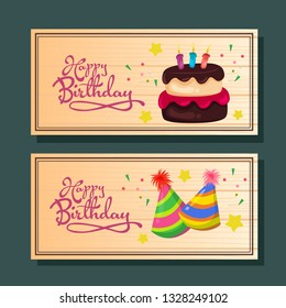 birthday horizontal banner with cake and party hat