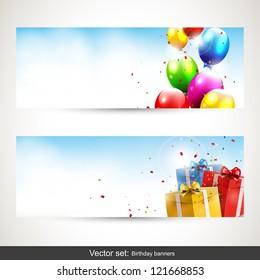 Birthday horizontal banners - vector set