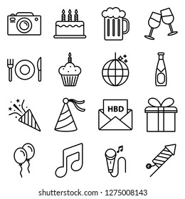Birthday icons pack. Isolated birthday symbols collection. Graphic icons element