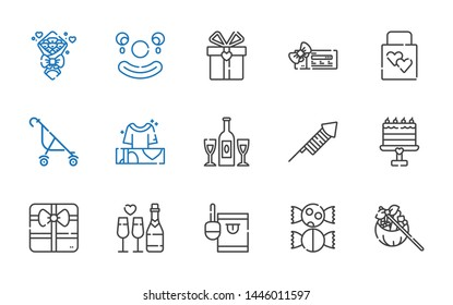 birthday icons set. Collection of birthday with gift, sweet, candy, champagne, cake, fireworks, gifts, stroller, wedding gift, voucher, clown. Editable and scalable birthday icons.