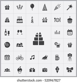 birthday icons universal set for web and mobile