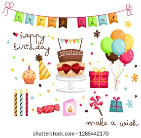 a birthday image with many objects