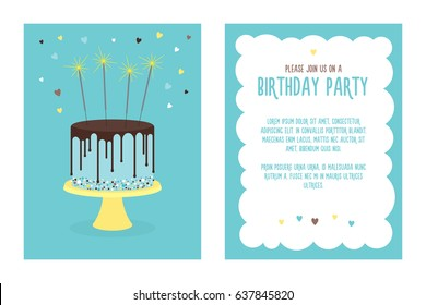 Birthday invitation card with cake and sparklers. Vector. Place for your text